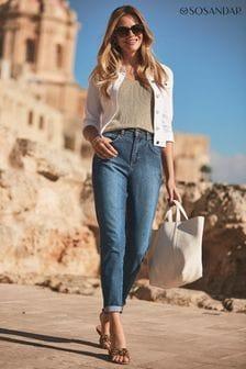 Sosandar Blue Regular Slim Leg Mom Jeans