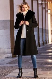Sosandar Black Faux Fur Collar Belted Coat