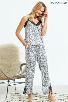 Sosandar White Animal Print Pyjama Bottoms