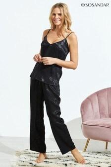Sosandar Black Animal Print Pyjama Bottoms