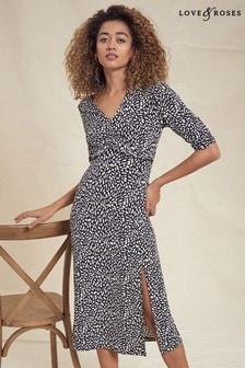 Love & Roses Black and White Printed Jersey Midi Tea Dress