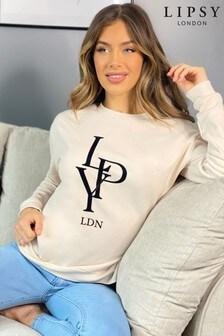 Lipsy Cream Branded Sweatshirt