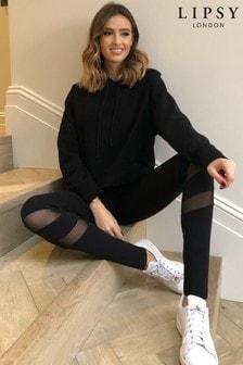 Lipsy Black Mesh High Waisted Mesh Panel Legging
