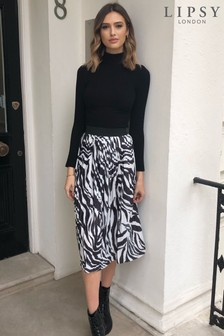 Lipsy Monochrome Zebra Lipsy Pleated Midi Skirt