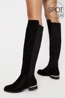 Spot On Black Long Knee Boot
