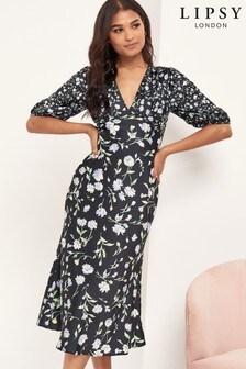 Lipsy Black Floral Print Tie Back Midi Dress