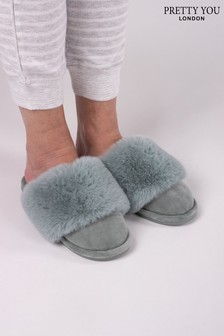 Pretty You London Sage Green Danni Mule Slipper