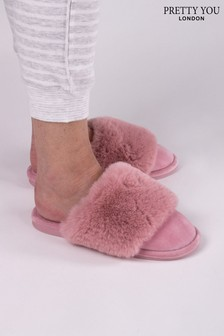Pretty You London Pink Danni Mule Slipper