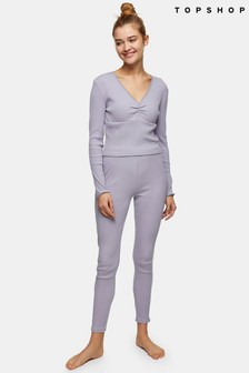 Topshop Purple Rib Picot Longsleeve Long Leg Set