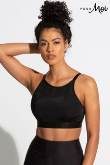Pour Moi Black Energy High Neck Padded Non Wired Sports Bra E+
