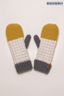 Brakeburn Yellow Colour Block Knit Mittens