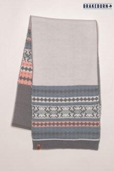 Brakeburn Grey Fairisle Knit Scarf