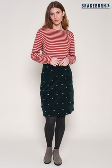 Brakeburn Green Embroidered Cord Skirt