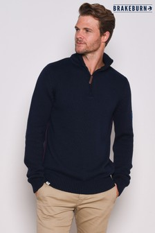Brakeburn Navy Mens Quarter Zip Knit