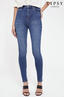 Lipsy Blue High Rise Skinny Scarlett Jean Regular Length