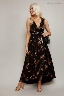 Little Mistress Black Fifi Foil Hi Low Prom Dress