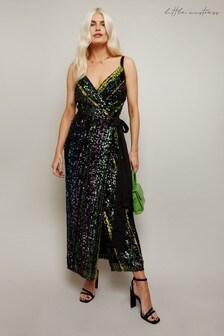 Little Mistress Black Emil Sequin Stripe Midaxi Dress