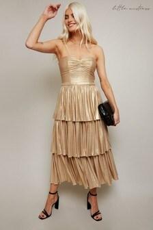 Little Mistress Gold Savva Lurex Belted Tiered Midi Dress