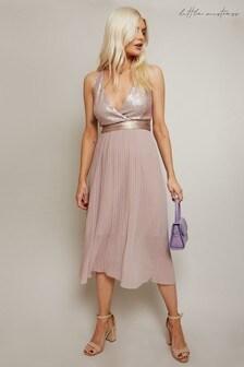 Little Mistress Brown Bridesmaid Serena Mink Sequin Pleated Midi Dress