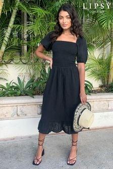 Lipsy Black Regular Square Neck Shirred Midi Dress