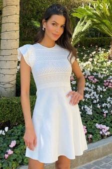 Lipsy White Pointelle Ruffle Knitted Dress
