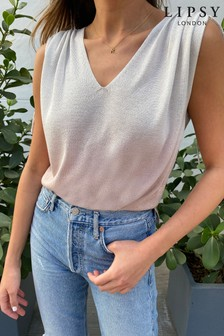 Lipsy Pink Knitted Lurex V Neck Ombre Top