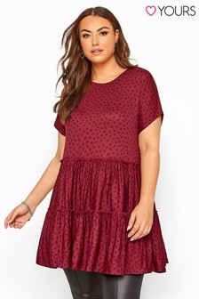 Yours Red Curve Ditsy Floral Peplum Smock Tunic
