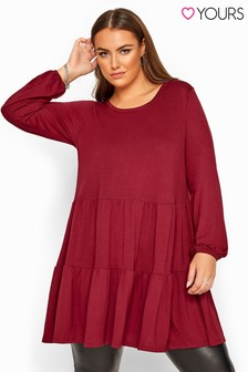 Yours Red Curve Balloon Sleeve Tiered Smock Tunic