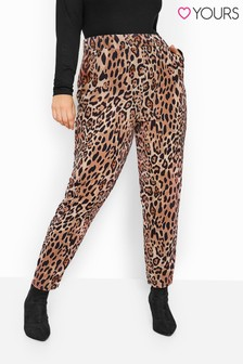Yours Orange Curve Animal Print Bubble Crepe Trousers