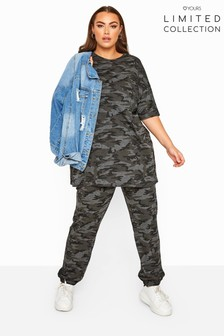 Yours Grey Limited Collection Camo Jersey Joggers