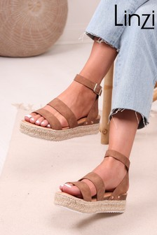 Linzi Tan Faux Leather Two Strap Detail Espadrille Inspired Platform Wedge