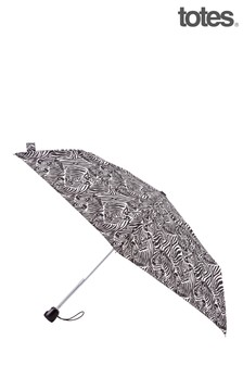 Totes Black Animal Zebra Auto O/C Thin Umbrella