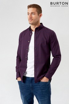 Burton Burgundy Long Sleeve Mini Check Shirt
