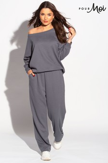 Pour Moi Charcoal Lounge Long Sleeve Jersey Slouch Top
