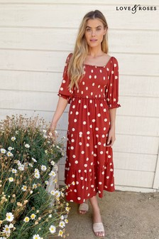 Love & Roses Rust and White Jersey Square Neck Midi Dress
