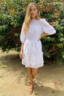 Love & Roses White Broderie Yoke Skater Dress