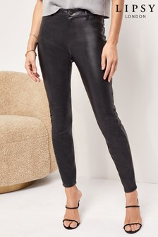 Lipsy Faux Leather Black High Rise Skinny Selena Jean Long Length