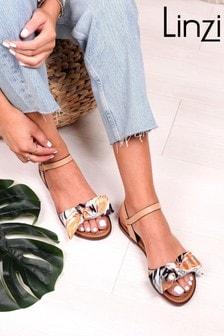 Linzi Beige Faux Leather Scarf Bow Detail Sandal