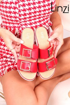 Linzi Red Faux Leather Buckle Detail Comfort Slider Sandal
