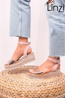 Linzi Rose Gold and Nude Plaited And Studded Espadrille Flatform