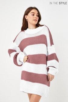 In The Style Billie Faiers Stripe Oversized Jumper Dress