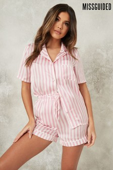 Missguided Pink Short Sleeve Stripe Satin PJ Set