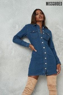 Missguided Blue Button Through Long Sleeve Denim Dress