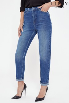 Lipsy Mid Blue Regular High Rise Mom Kira Jean