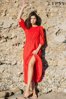 Lipsy Red Shirred Midi Smock Dress