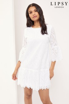 Lipsy White Broderie Flute Sleeve Shift Dress