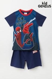 Kid Genius Blue Go Spidey Spiderman Short Sleeved Character Pyjama Short Set