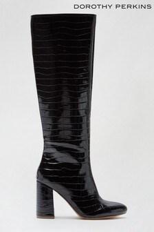 Dorothy Perkins Black Karma Western Knee High Boot