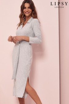 Lipsy Grey Cosy Polo Collar Midi Dress