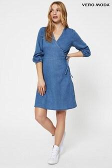 Vero Moda Denim Wrap Mini Dress